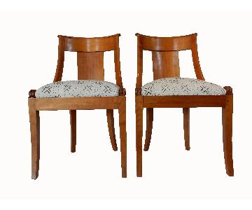 Geometric Upholstered Biedermeier Side Chairs