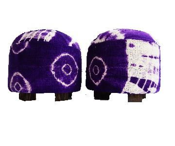 Purple & White Mud Cloth Ottomans