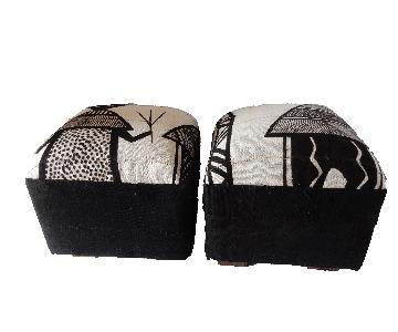 Black & White Korhogo Cloth Ottomans