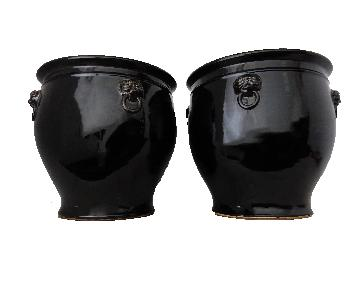 Black Glazed Fish Bowl Cachepots Pair