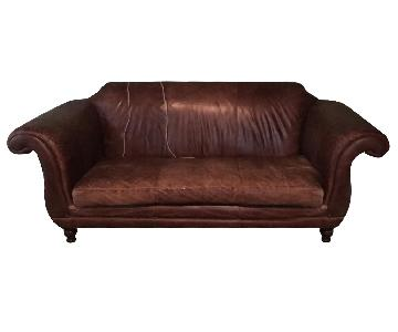 Restoration Hardware Regency Leather Sofa in Vintage Cigar Luxe