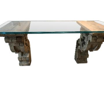 Restoration Hardware Corbel Glass Console/Desk