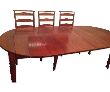 Oak Wood Vintage 19th C Reserve Dining Table w/ 6 Chairs