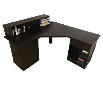 Pottery Barn Bedford Corner Desk w/ Hutch in Espresso Wood