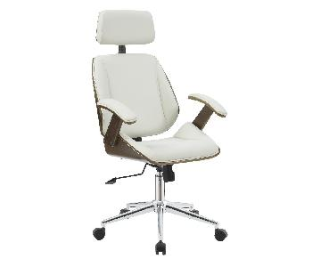 Mid-Century Modern Office Chair in Cream Faux Leather & Walnut Color Frame w/ Headrest & Armrests