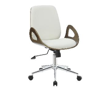 Mid-Century Modern Office Chair in Cream Faux Leather & Walnut Color Frame w/ Armrests