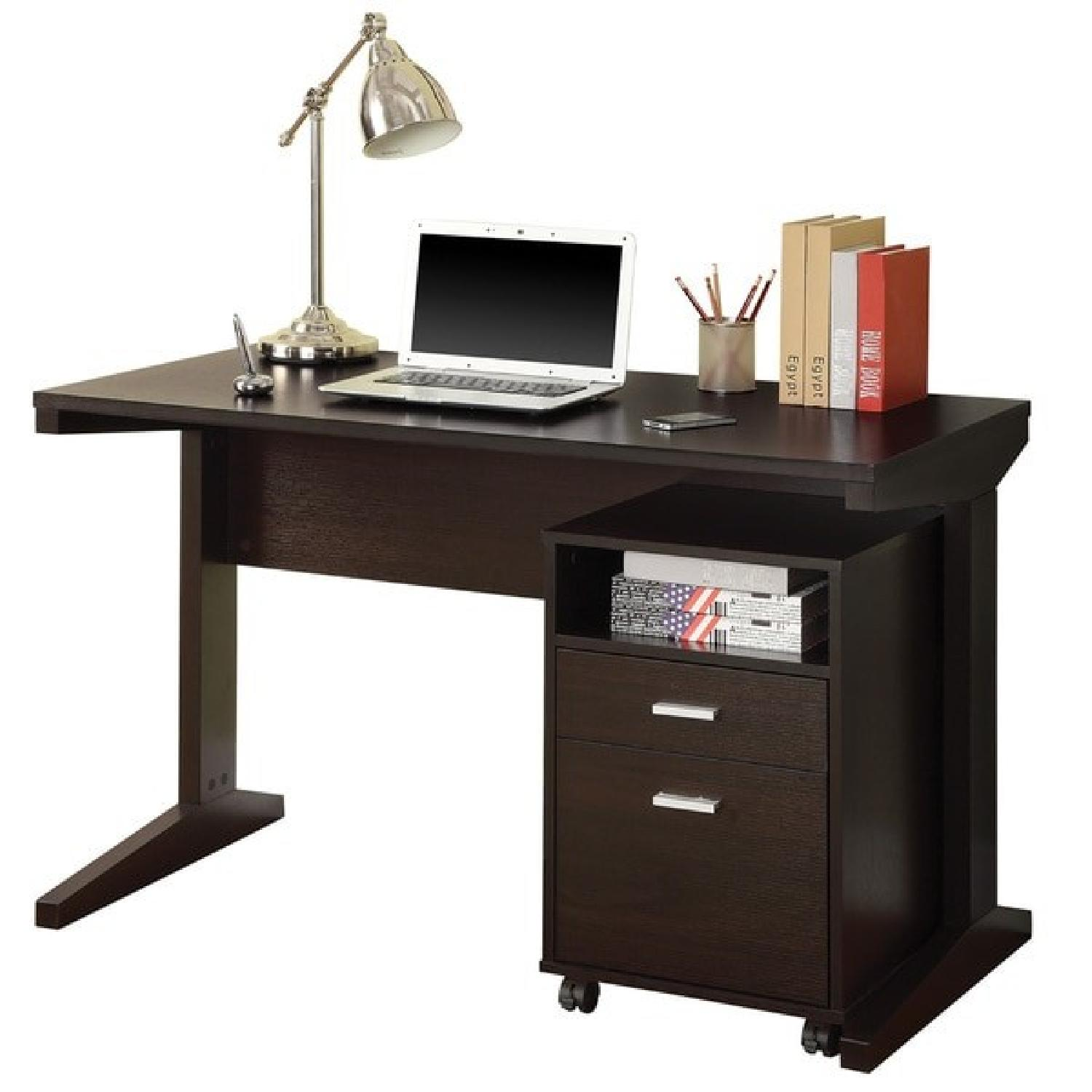 Modern Desk & Cabinet Set in Cappuccino Finish - image-0