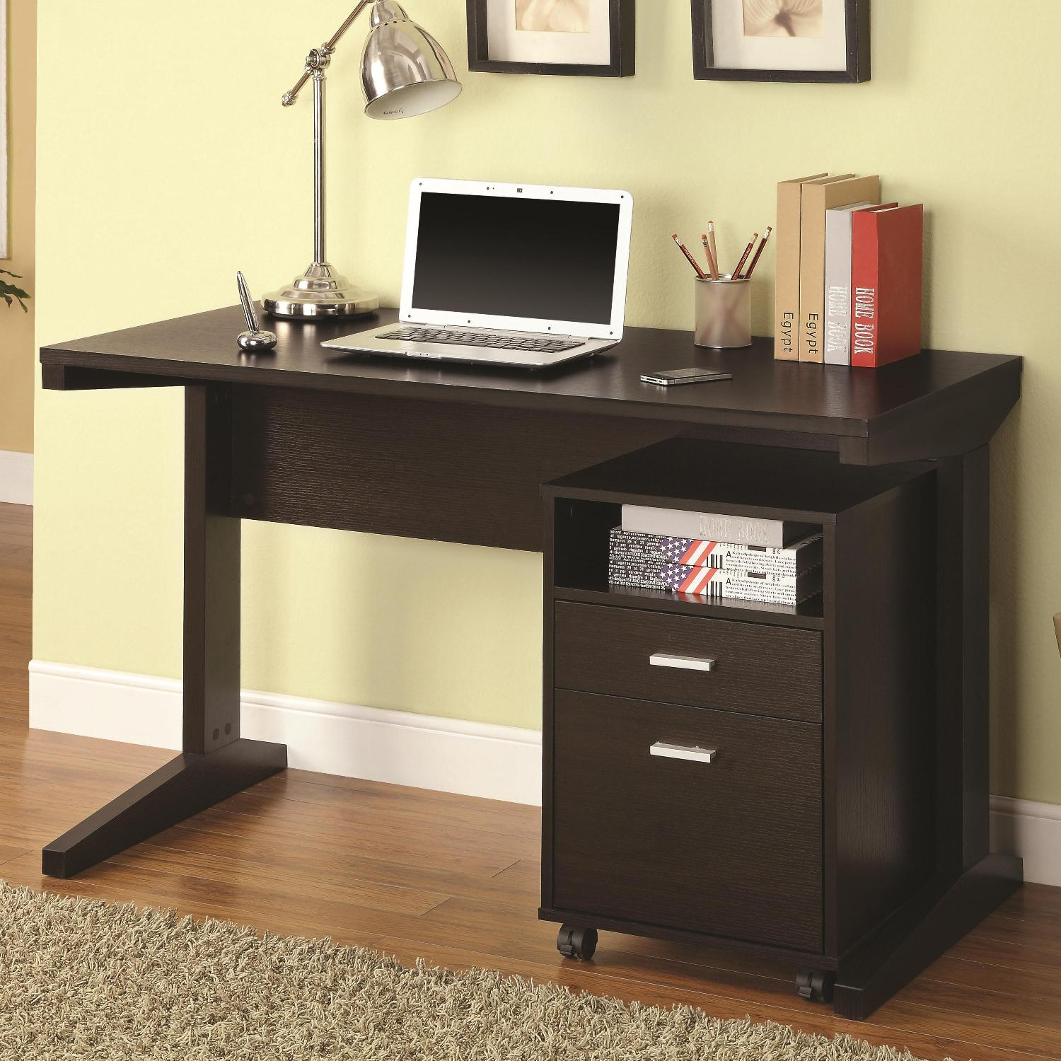 Modern Desk & Cabinet Set in Cappuccino Finish - image-1