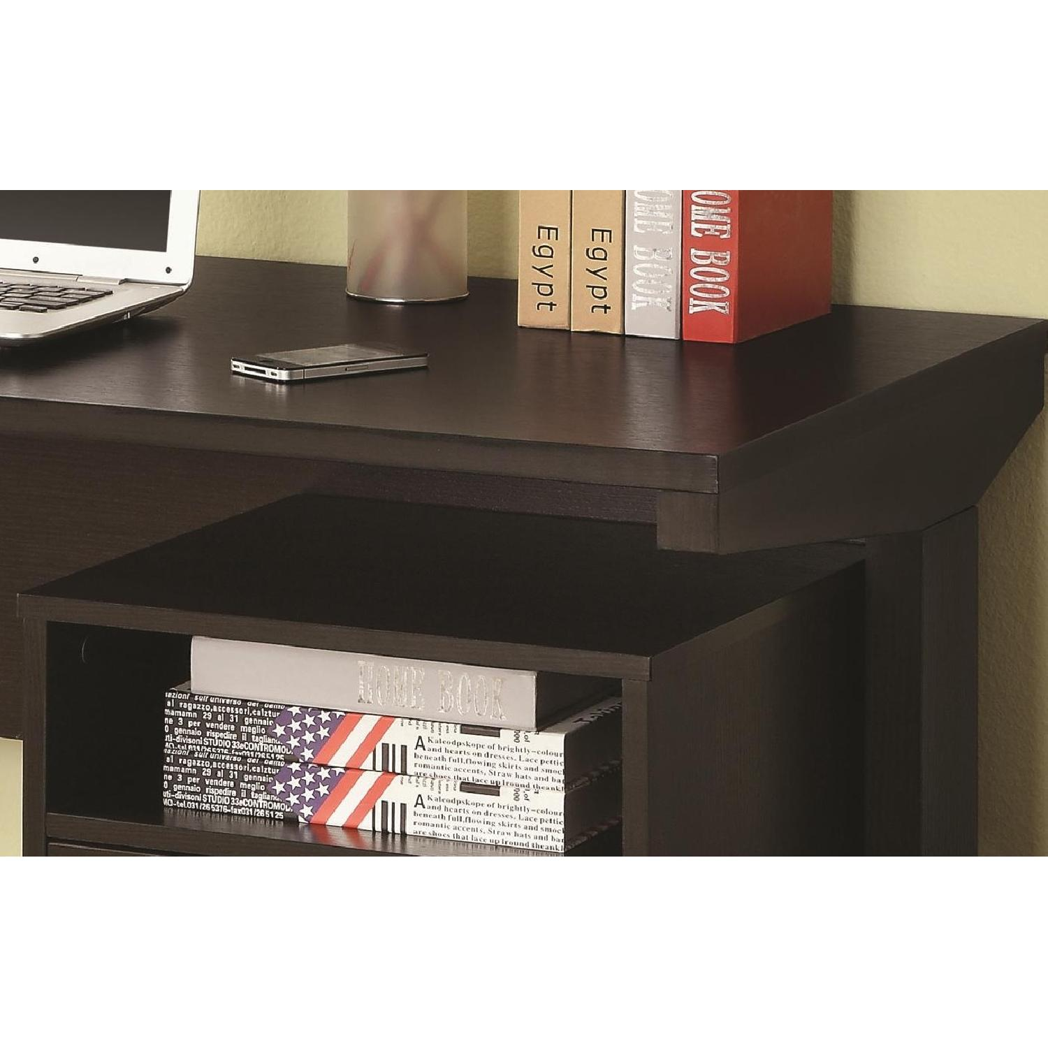 Modern Desk & Cabinet Set in Cappuccino Finish - image-2