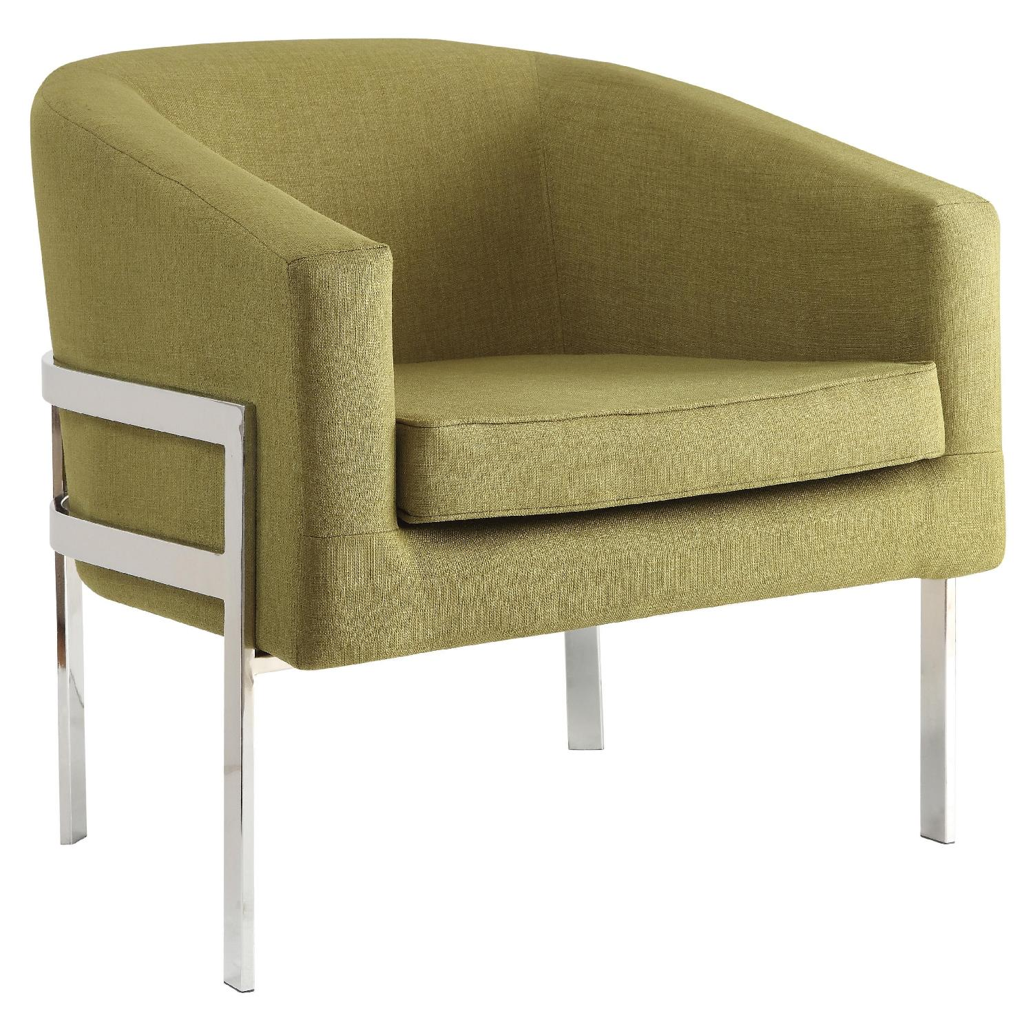 Contemporary Accent Chair in Green Linen w/ Exposed Metal Fr