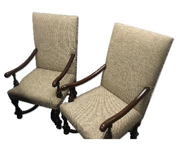Wood Frame Fabric Arm Chairs