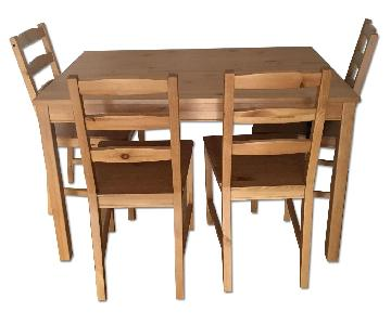 Ikea Wood Dining Table w/ 4 Chairs