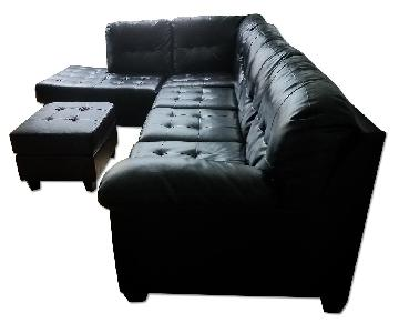 Ashley Durablend Sectional Sofa w/ Left Arm Facing Chaise & Ottoman